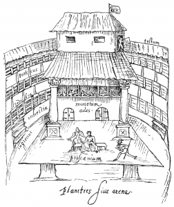 Contemporary sketch of an Elizabethan playhouse.