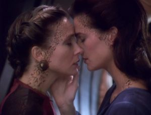 Dr Lenara Kahn and Jadzia Dax about to embark on a passionate kiss