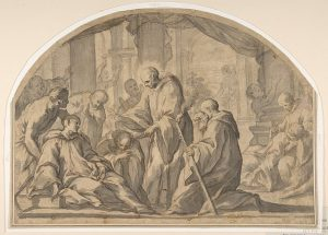 A Carthusian Saint Visiting the Plague Stricken by Andrea Sacchi