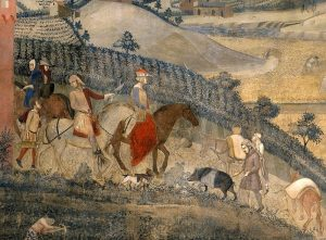 a fresco of the countryside in medieval Northern Italy