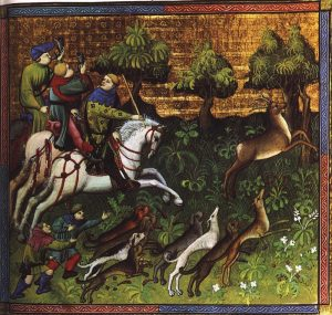 Medieval hunting scene, chasing dow hart with horsemen and dogs.