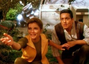 Kathryn Janeway and Chakotay enjoying civilian life while stranded on an unhibaited planet in the episode Resolutions