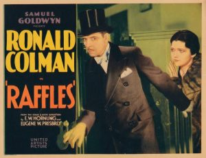 Poster for Raffles (1930) showing Ronald Colman and Kay Francis