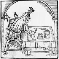 Etching of Robert Greene at his desk