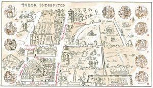 Hand drawn map of Elizabethan Shoreditch