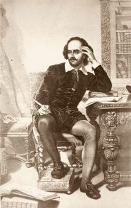 19th century engraving of a young William Shakespeare