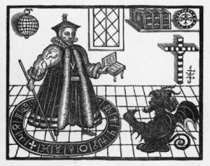 Woodcut depicting Dr Fausus and Mephistopheles
