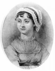 19th century etching of Jane Austen