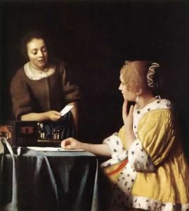 Painting of a Mistress and Maid by Johannes Vermeer